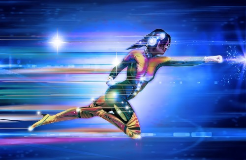 Sci-Fi Superheroine running at super-speed
