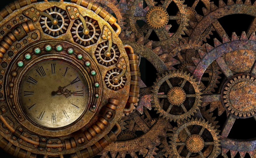 Steampunk clockwork and gears