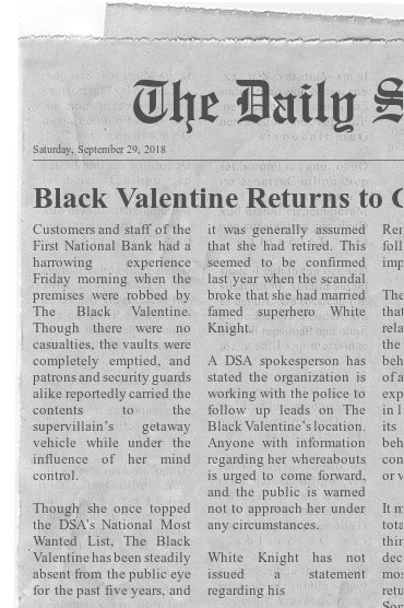 Newspaper Clipping with Supervillain Headline