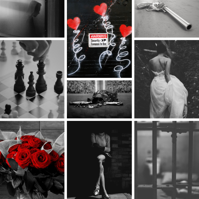 Black, white, and red aesthetic