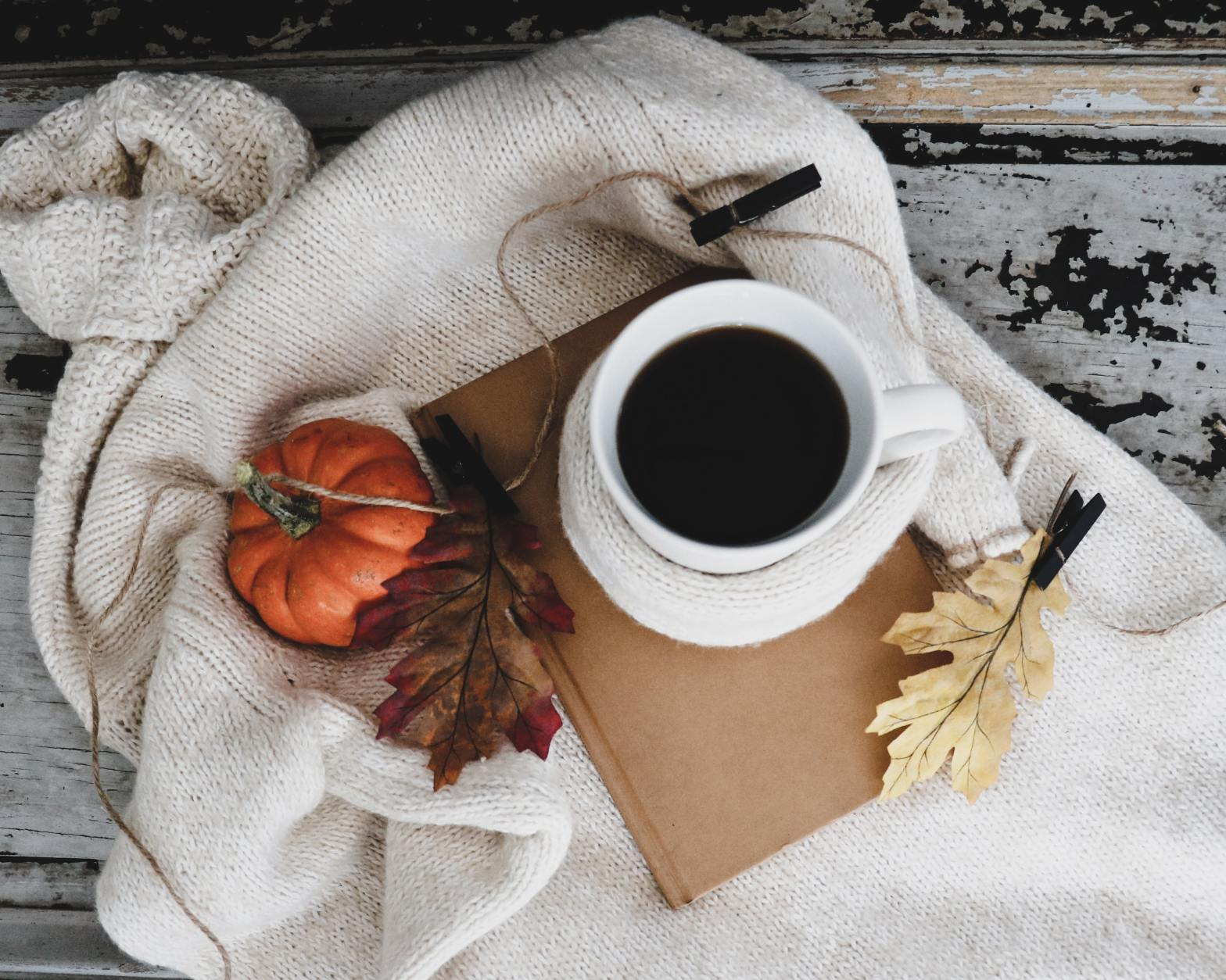 Autumn book and coffee