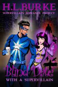Cover for superhero romance novel Blind Date with a Supervillain showing a hero and villainess on a coffee date