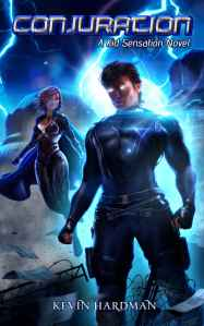 Superhero book cover showing two flying heroes with lightning in the background