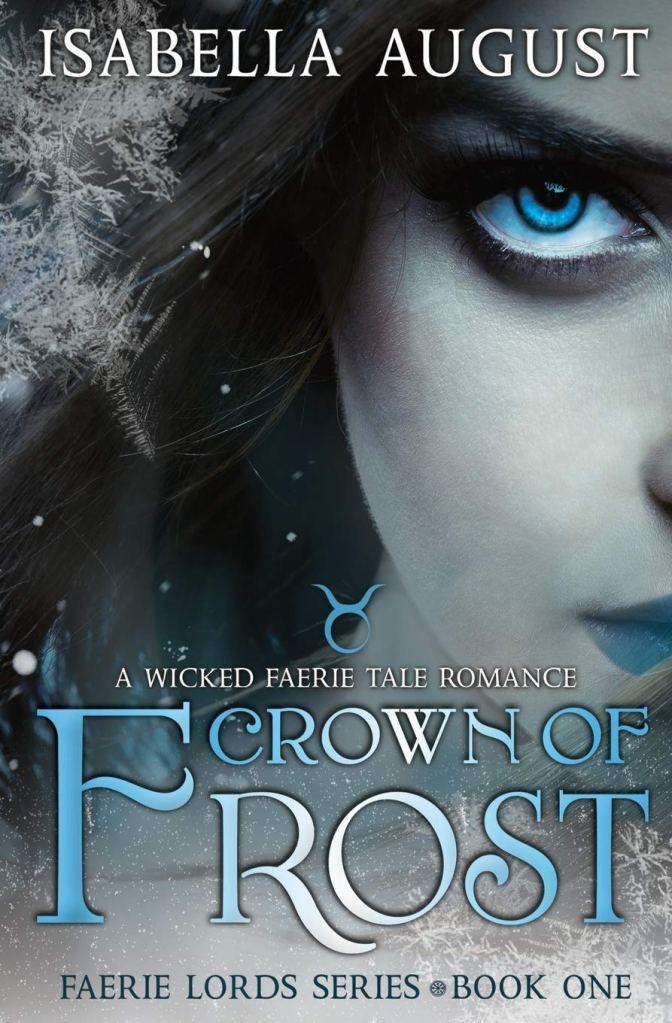 Paranormal romance book cover showing a pale woman with blue eyes and lips surrounded by ice