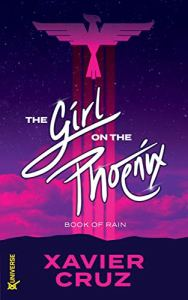 Superhero book cover showing a phoenix symbol over a pink sky