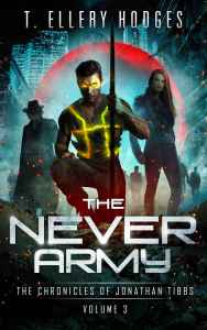 Superhero book cover for The Never Army