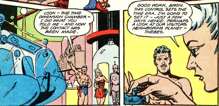 Comic book panels of shirtless Bron helping Mysta build a time machine