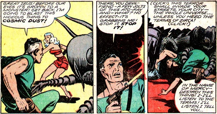 Three comic panels of Dick Garro getting attacked by a giant ant