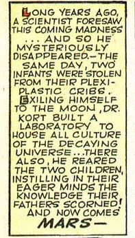 Text box from comic explaining how Dr. Kort abducted two babies.