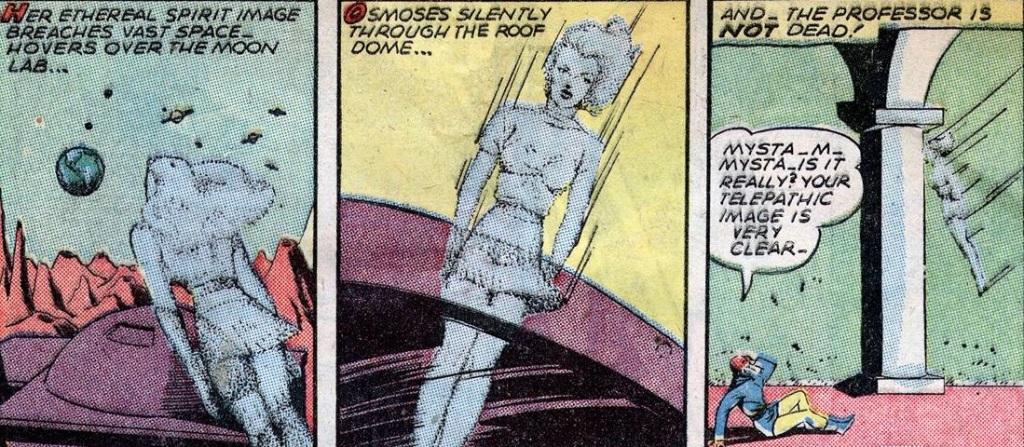 Comic book panels showing Mysta traveling via her spirit image