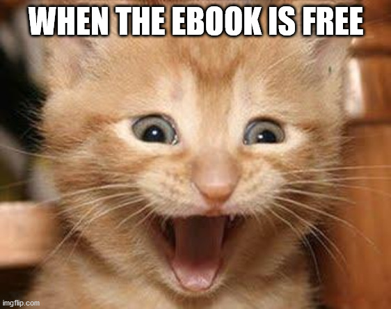 "Excited cat meme with text ""When the ebook is free"""