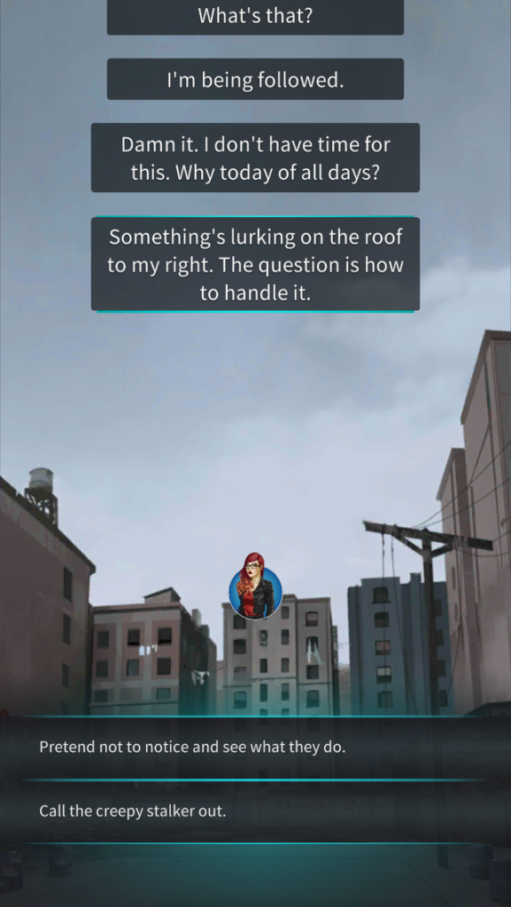 Screenshot of superhero visual novel Wardrobe showing the protagonist being followed.