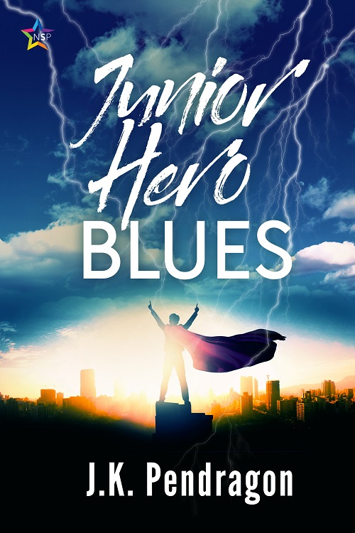 Cover of YA LGBT superhero novel Junior Hero Blues showing a boy in a cape in front of a city