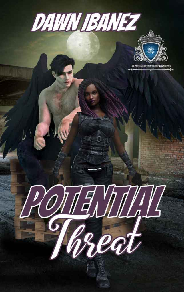 Cover of superhero romance novel showing a woman in a black costume and a winged man