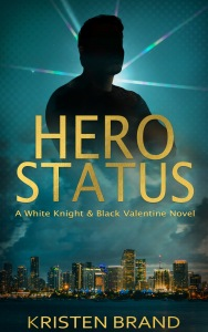 New Cover for the superhero fiction ebook Hero Status. Images shows the silhouette of a man over a city