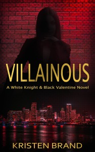 New ebook cover for the supervillain novel Villainous. Shows a woman in shadow over a city.
